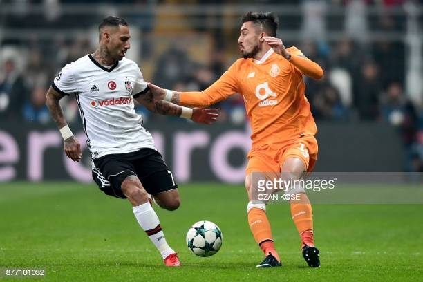 Porto's Alex Telles vies for the ball with Besiktas' Ricardo Quaresma during the UEFA Champions League Group G football match between Besiktas JK and...