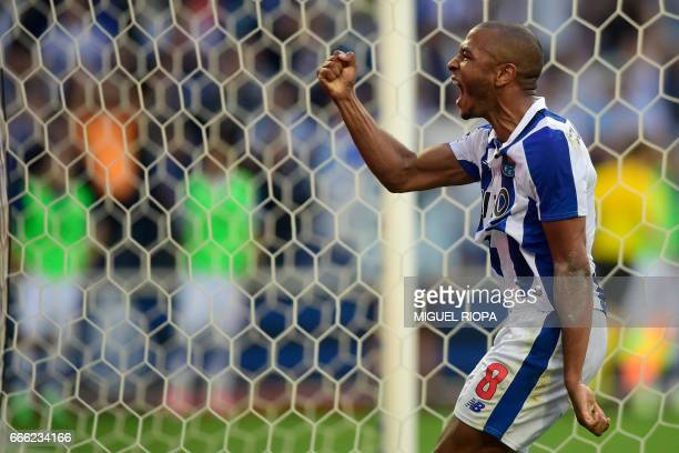 Porto's Algerian forward Yacine Brahimi celebrates after scoring a goal during the Portuguese league football match FC Porto vs Belenenses at the...