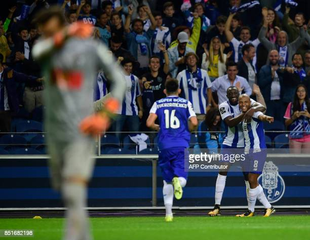 Porto's Algerian forward Yacine Brahimi celebrates after scoring a goal during the Portuguese league football match FC Porto vs Portimonense at the...