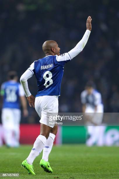 Porto's Algerian forward Yacine Brahimi celebrates after scoring a goal during the UEFA Champions League Group G match between FC Porto and AS Monaco...