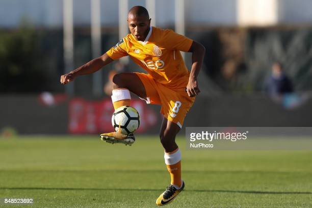 Porto's Algerian forward Yacine Brahimi during the Premier League 2017/18 match between Rio Ave FC and FC Porto at Rio Ave Stadium in Vila do Conde...