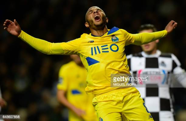 Porto's Algerian forward Yacine Brahimi gestures after missing a chance to score a goal during the Portuguese league football match Boavista FC vs FC...