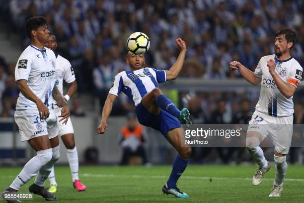 Porto's Algerian forward Yacine Brahimi in action during the Premier League 2017/18 match between FC Porto and CD Feirense at Dragao Stadium in Porto...
