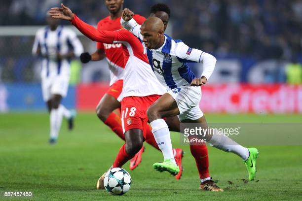 Porto's Algerian forward Yacine Brahimi in action with Soualiho Meite midfielder of AS Monaco FC during the UEFA Champions League Group G match...
