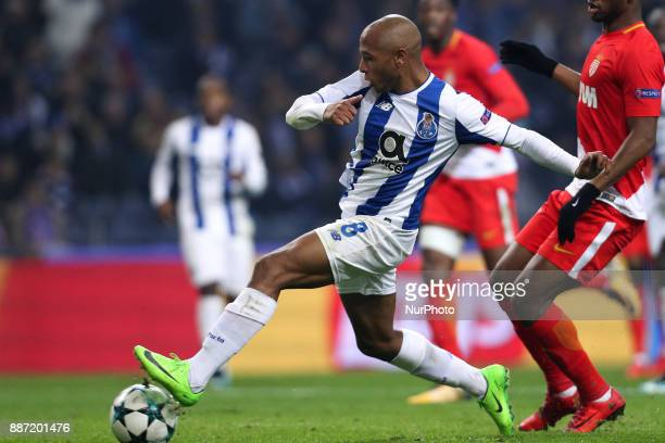 Porto's Algerian forward Yacine Brahimi score a goal during the UEFA Champions League Group G match between FC Porto and AS Monaco FC at Dragao...