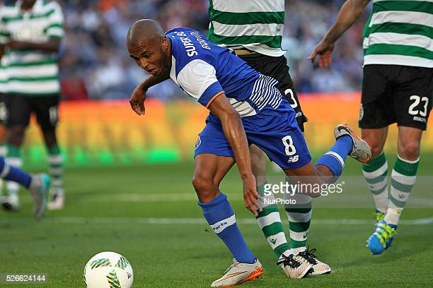 Porto's Algerian forward Yacine Brahimi suffers penalty done by Sporting's defender Coates during the Premier League 2015/16 match between FC Porto...