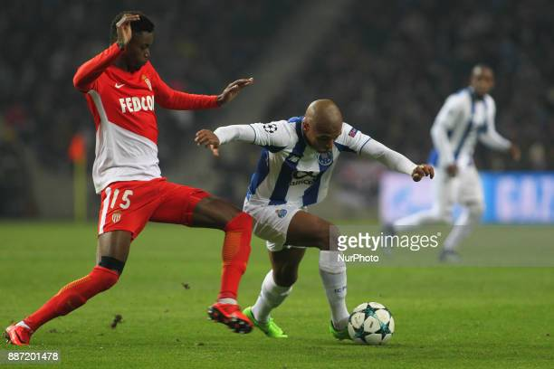 Porto's Algerian forward Yacine Brahimi with Adama Diakhaby forward of AS Monaco FC during the UEFA Champions League Group G match between FC Porto...
