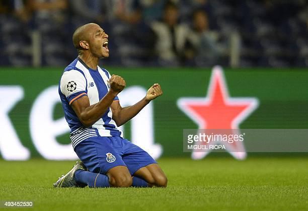 Porto's Algerian midfielder Yacine Brahimi celebrates after scoring a goal during the UEFA Champions League group G football match FC Porto vs...
