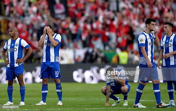 Porto's Algerian midfielder Yacine Brahimi midfielder Andre Silva Mexican defender Miguel Layun Spanish defender Ivan Marcano and Mexican midfielder...