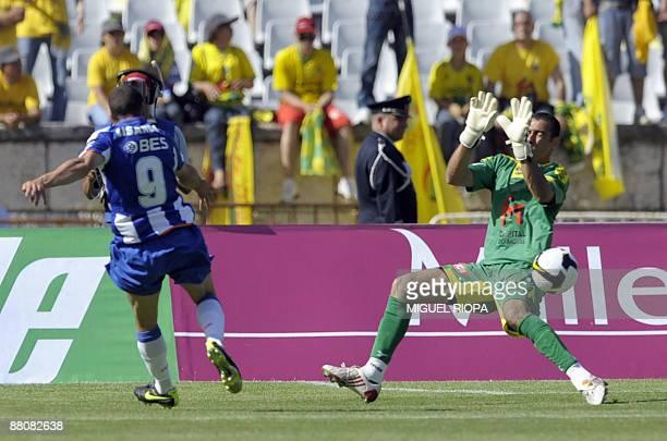 FC Porto's Argentinian Lisandro Lopez kicks the ball next to Pacos Ferreira's goalkeeper Brazilian Cassio Anjos to score a goal during their...