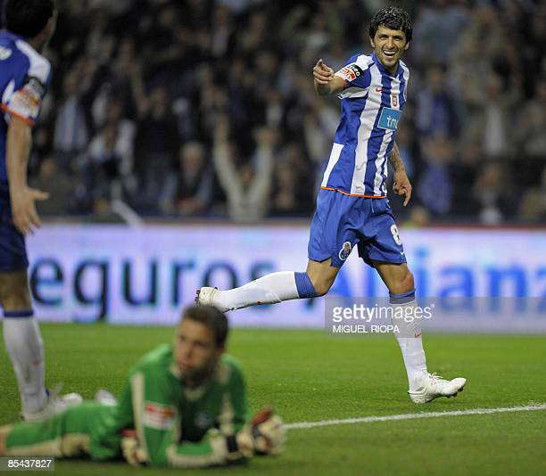 FC Porto's Argentinian Lucho Gonzalez celebrates after scoring against Naval during their Portuguese first league football match at the Dragao...