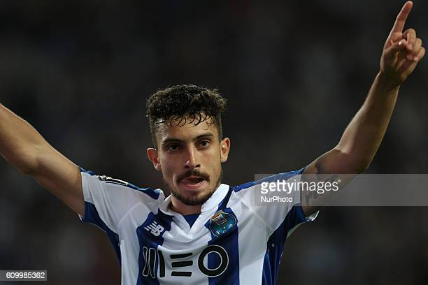Porto's Brazilian defender Alex Telles celebrates after scoring a goal during the Premier League 2016/17 match between FC Porto and Boavista FC at...