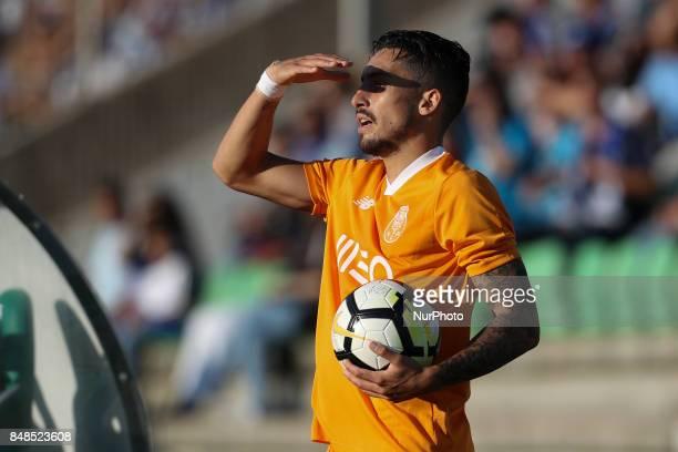 Porto's Brazilian defender Alex Telles during the Premier League 2017/18 match between Rio Ave FC and FC Porto at Rio Ave Stadium in Vila do Conde on...