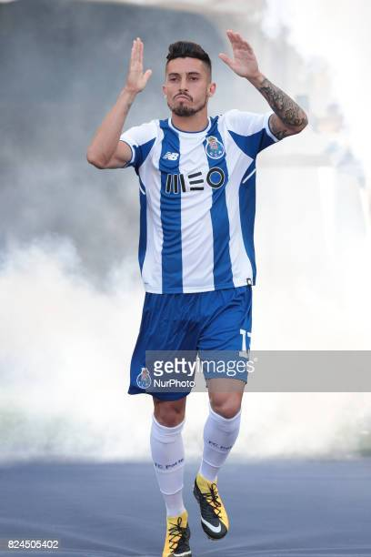 Porto's Brazilian defender Alex Telles during the preseason friendly between FC Porto and Deportivo da Corunha at Dragao Stadium on July 30 2017 in...
