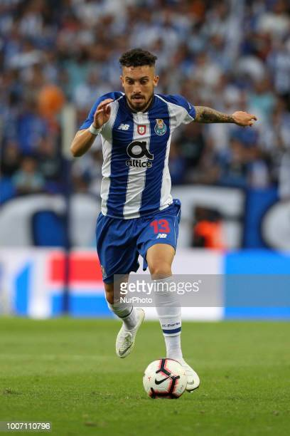 Porto's Brazilian defender Alex Telles in action during the Official Presentation of the FC Porto Team 2018/19 match between FC Porto and Newcastle...