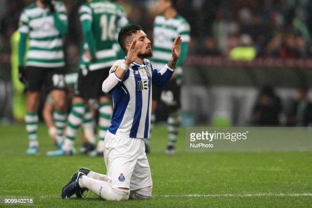 Porto's Brazilian defender Alex Telles reacts during the Portuguese League Cup 2017/18 match between Sporting CP and FC Porto at Municipal de Braga...
