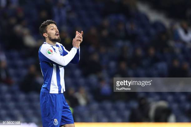 Porto's Brazilian defender Alex Telles reacts during the Portuguese Cup 2017/18 match between FC Porto and Sporting CP at Dragao Stadium in Porto on...