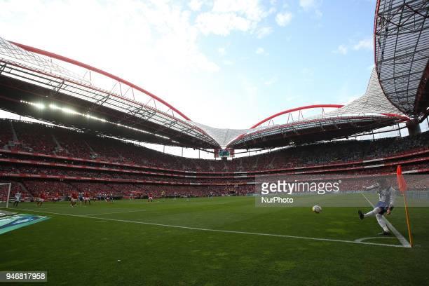 Porto's Brazilian defender Alex Telles shoots a corner kick during the Portuguese League football match SL Benfica vs FC Porto at the Luz stadium in...