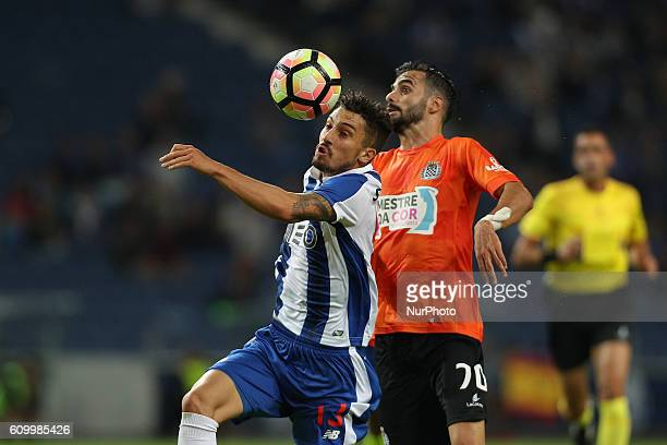Porto's Brazilian defender Alex Telles vies with Boavista's Portuguese forward Digas during the Premier League 2016/17 match between FC Porto and...