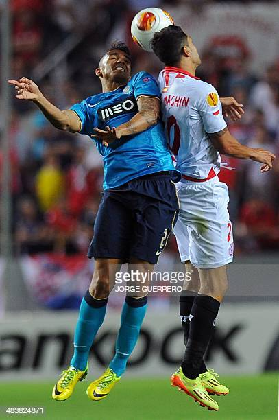 Porto's Brazilian defender Danilo vies with Sevilla's midfielder Victor Vitolo Machin during the UEFA Europa League quarterfinal second leg football...