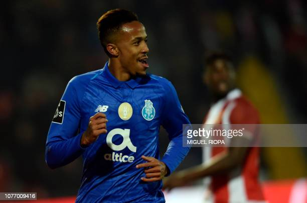 Porto's Brazilian defender Eder Militao celebrates a goal during the Portuguese League football match between CD Aves and FC Porto at the CD Aves...