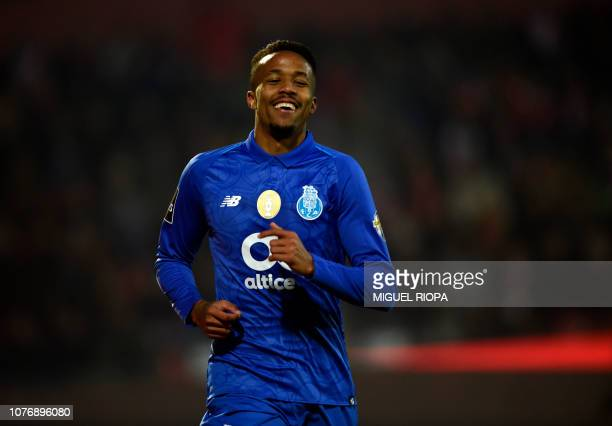 Porto's Brazilian defender Eder Militao celebrates after scoring a goal eventually disallowed during the Portuguese League football match between CD...