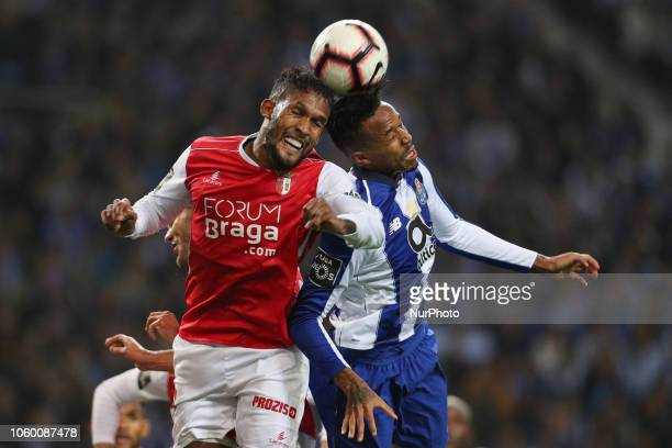 Porto's Brazilian defender Eder Militao vies with Sporting Braga's Brazilian forward Diego Sousa during the Premier League 2018/19 match between FC...