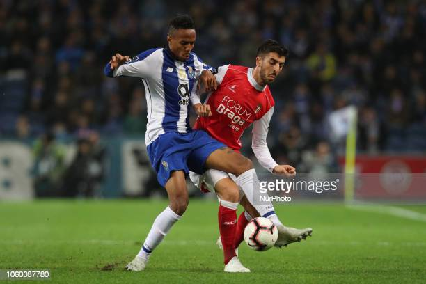 Porto's Brazilian defender Eder Militao vies with Sporting Braga's Portuguese forward Paulinho during the Premier League 2018/19 match between FC...
