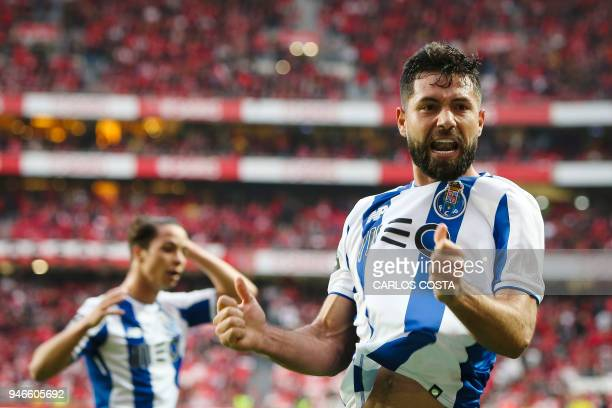 Porto's Brazilian defender Felipe celebrates a goal during the Portuguese league footbal match between SL Benfica and FC Porto at the Luz stadium in...