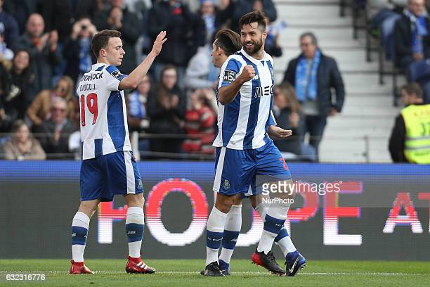 Porto's Brazilian defender Felipe celebrates after scoring a goal during the Premier League 2016/17 match between FC Porto and Rio Ave at Dragao...