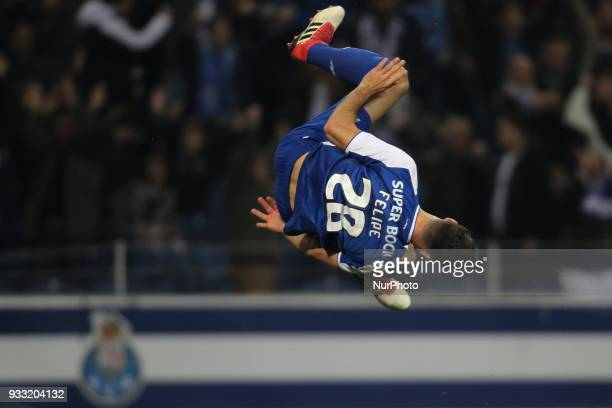 Porto's Brazilian defender Felipe celebrates after scoring goal during the Premier League 2017/18 match between FC Porto v Boavista FC at Dragao...
