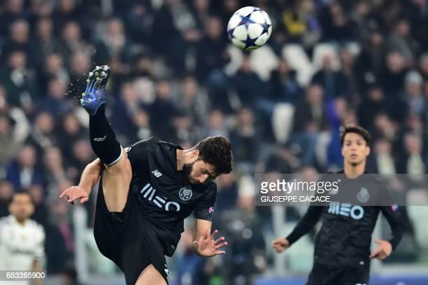Porto's Brazilian defender Felipe kicks the ball during the UEFA Champions League football match Juventus vs FC Porto on March 14 2017 at the...