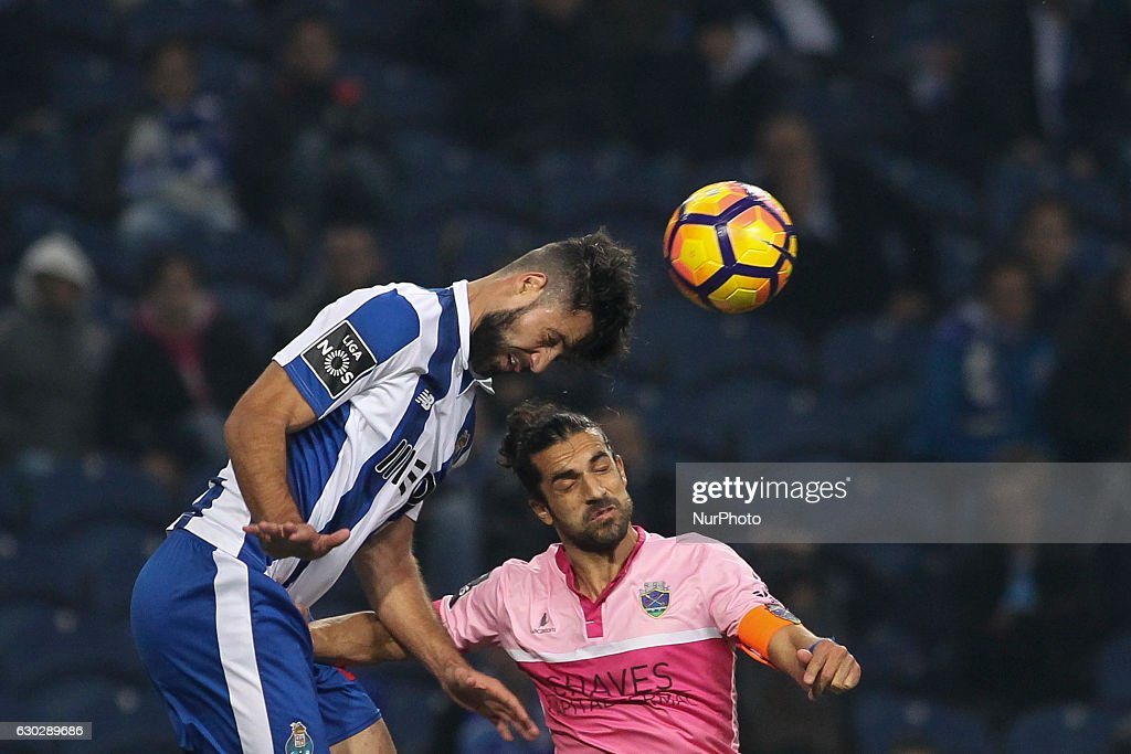 Porto's Brazilian defender Felipe with Chaves Nelson Lenho during the Premier League 2016/17 match between FC Porto and GD Chaves, at Dragao Stadium in Porto on December 19, 2016.