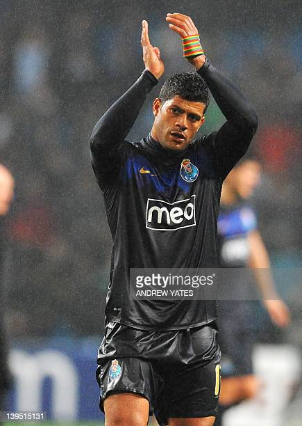 FC Porto's Brazilian forward Hulk applauds after the UEFA Europa League round of 32 second leg football match between Manchester City and FC Porto at...