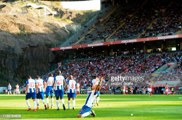 Porto's Brazilian forward Soares celebrates after scoring a goal during the Portuguese league football match between SC Braga and FC Porto at the...