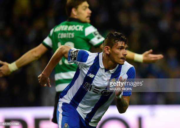 Porto's Brazilian forward Soares celebrates after scoring a goal during the Portuguese league football match FC Porto vs Sporting CP at the Dragao...