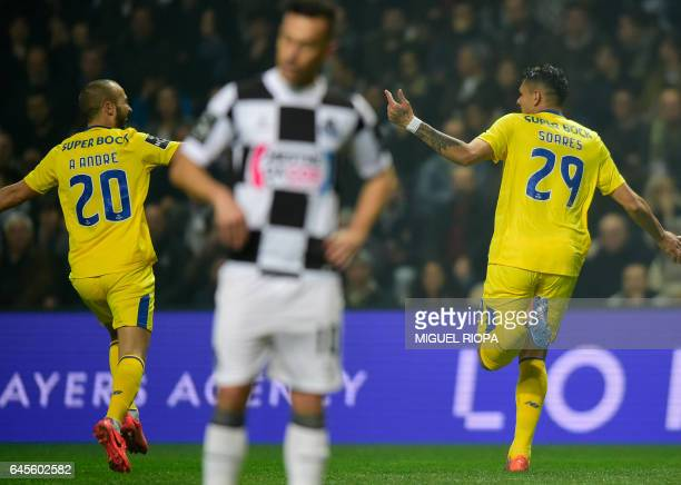 Porto's Brazilian forward Soares celebrates after scoring a goal during the Portuguese league football match Boavista FC vs FC Porto at the Estadio...