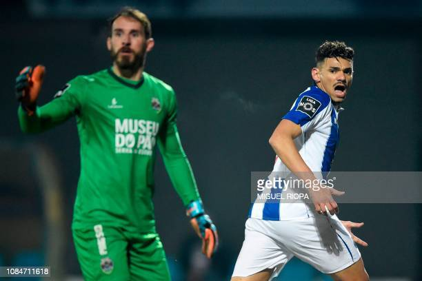 Porto's Brazilian forward Soares celebrates after scoring a second goal during the Portuguese League football match between GD Chaves and FC Porto at...