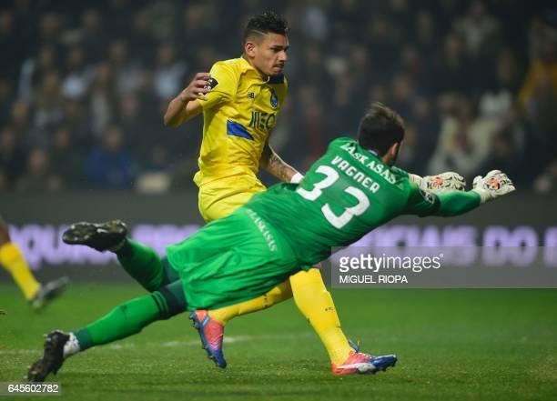 Porto's Brazilian forward Soares scores a goal during the Portuguese league football match Boavista FC vs FC Porto at the Estadio do Bessa Seculo XXI...