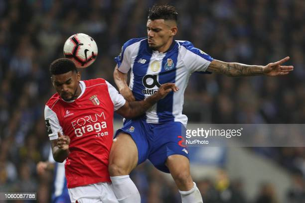 Porto's Brazilian forward Soares vies with Sporting Braga's Brazilian defender Bruno Viana during the Premier League 2018/19 match between FC Porto...