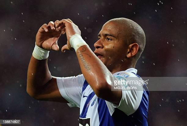 FC Porto's brazilian forward Walter Silva celebrates after scoring a goal against CD Nacional during their Portuguese Super League football match at...