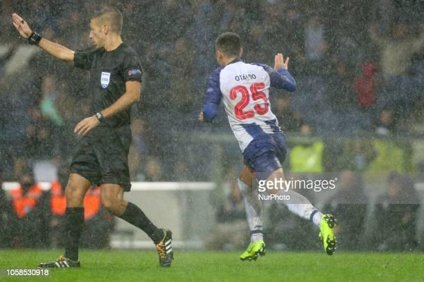 Porto's Brazilian midfielder Otavio celebrates after scoring a goal during the UEFA Champions League match between FC Porto and FC Lokomotiv Moscow...