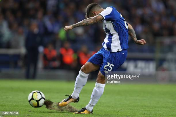 Porto's Brazilian midfielder Otavio in action during the Premier League 2017/18 match between FC Porto and GD Chaves at Dragao Stadium in Porto on...