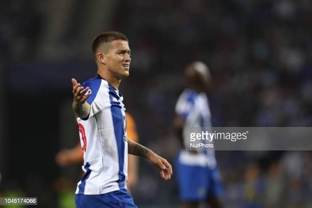Porto's Brazilian midfielder Otavio reacts during the UEFA Champions League match between FC Porto and Galatasaray at Dragao Stadium in Porto on...