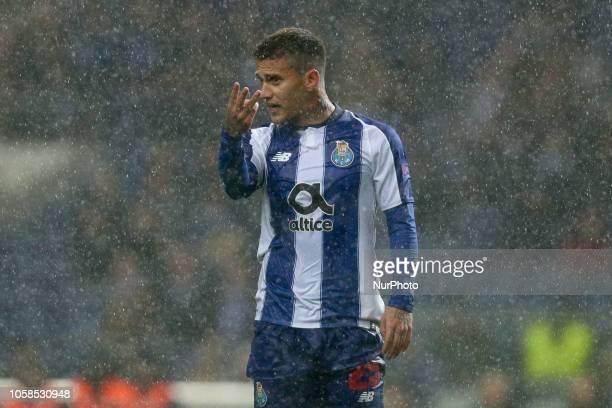 Porto's Brazilian midfielder Otavio reacts during the UEFA Champions League match between FC Porto and FC Lokomotiv Moscow at Dragao Stadium in Porto...