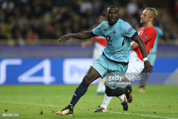 Porto's Cameroonian forward Aboubakar celebrates after scoring a goal during the UEFA Champions League Group G football match AS Monaco FC vs FC...