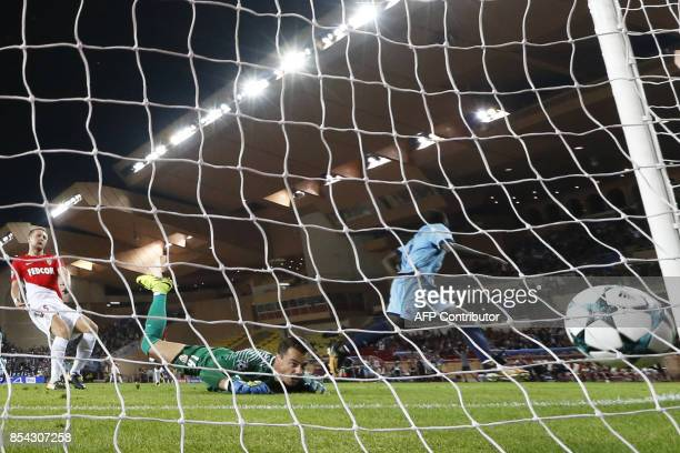 Porto's Cameroonian forward Aboubakar scores a goal during the UEFA Champions eague Group G football match AS Monaco FC vs FC Porto on September 26,...