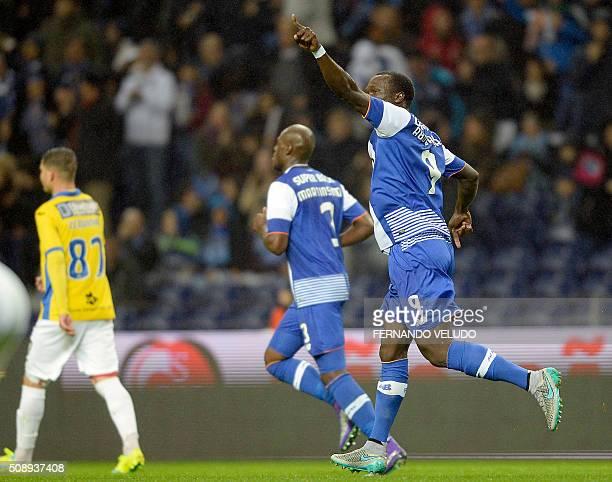 Porto's Cameroonian forward Vincent Aboubakar celebrates a goal during the Portuguese League football match FC Porto vs FC Arouca at the Dragao...