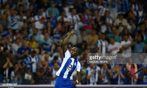 Porto's Cameroonian forward Vincent Aboubakar celebrates after scoring a goal during the Portuguese league football match between Porto and Chaves at...