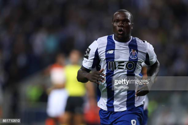 Porto's Cameroonian forward Vincent Aboubakar celebrates after scoring goal during the Premier League 2016/17 match between FC Porto and Portimonense...